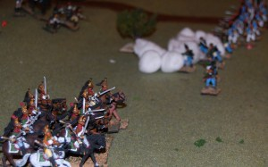The Dragoons on the right surge forward